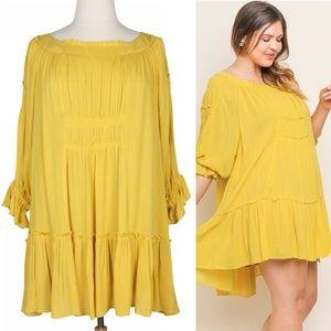 Boho Cloud 1X Flowy Yellow Smocked Ruffle Dress